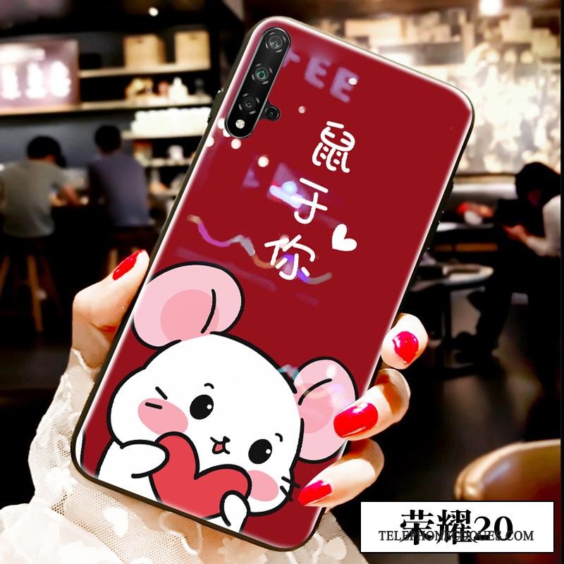 Coque Pour Honor 20 Dessin Animé Amoureux Rouge Incassable De Téléphone Verre