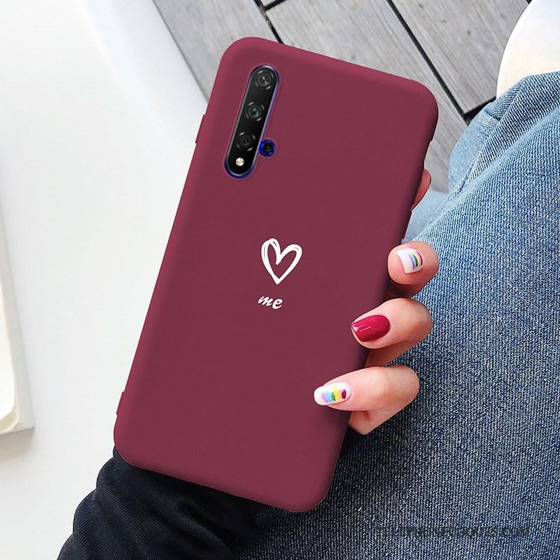 Coque Pour Honor 20 Net Rouge Amour Ultra Silicone Bleu Créatif