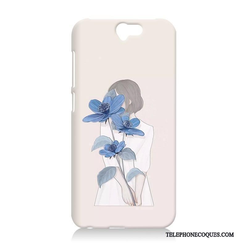 Coque Pour Htc One A9 Gaufrage De Téléphone Difficile Protection Bleu Étui