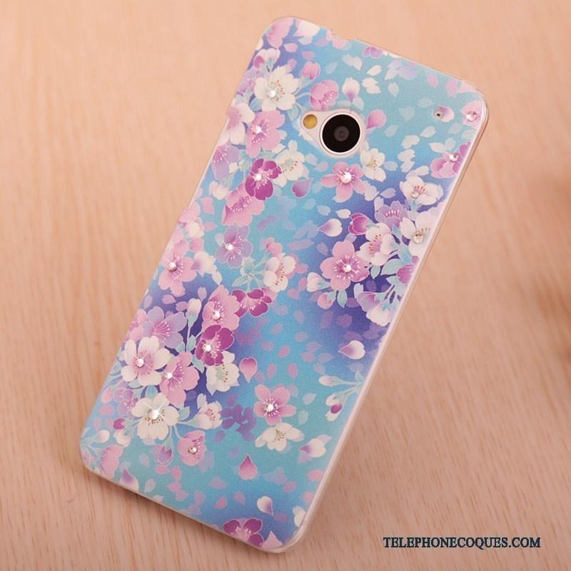 Coque Pour Htc One M7 Protection Bleu Strass Téléphone Portable Peinture