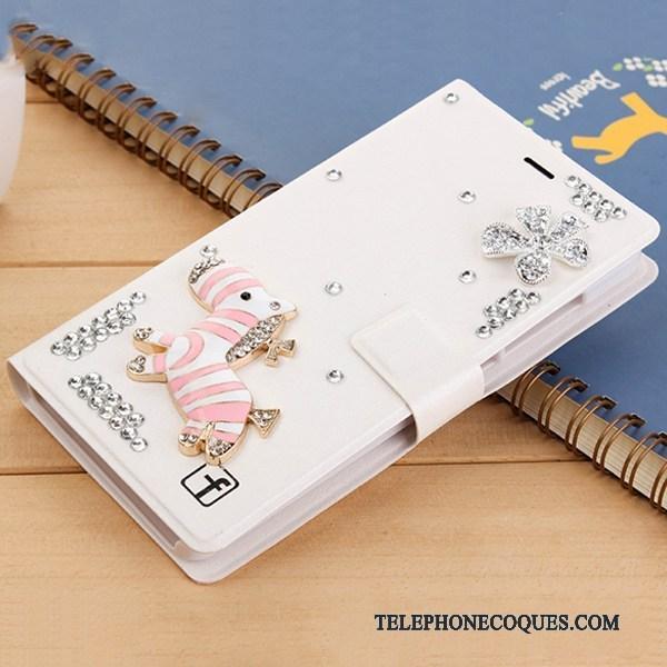 Coque Pour Huawei G7 Plus De Téléphone Étui En Cuir Rouge Strass Housse