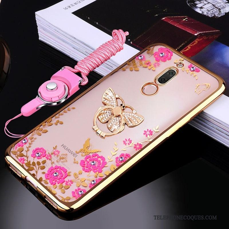 Coque Pour Huawei Mate 10 Lite De Téléphone Anneau Incassable Rose Une Agrafe Silicone