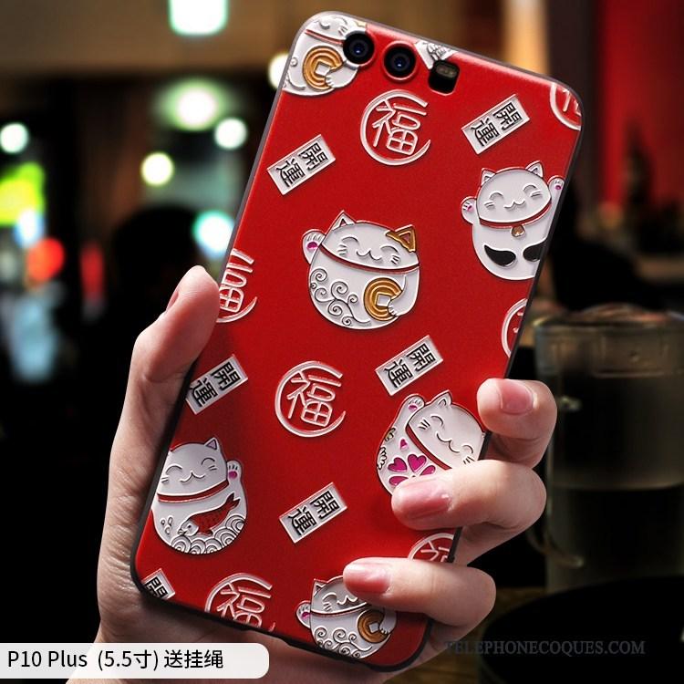 Coque Pour Huawei P10 Plus Tendance Personnalité Richesse Rouge Très Mince Tout Compris