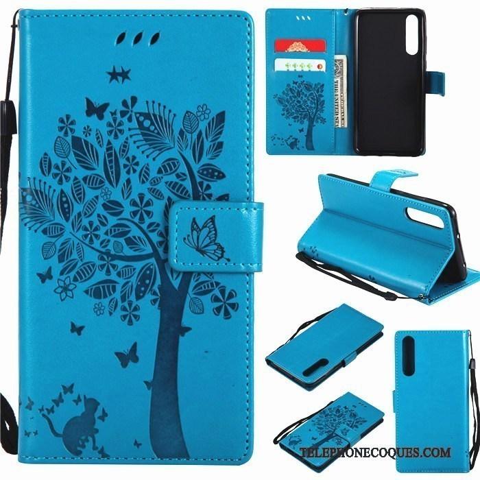 Coque Pour Huawei P20 Tout Compris Étui En Cuir De Téléphone Bleu Housse Silicone