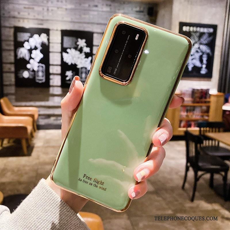 Coque Pour Huawei P40 Pro Pu De Téléphone Créatif Bleu Clair Silicone Fluide Doux