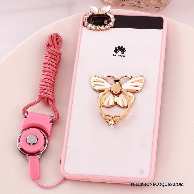 Coque Pour Huawei P8 Lite Incassable Support Strass Téléphone Portable Ornements Suspendus Rose