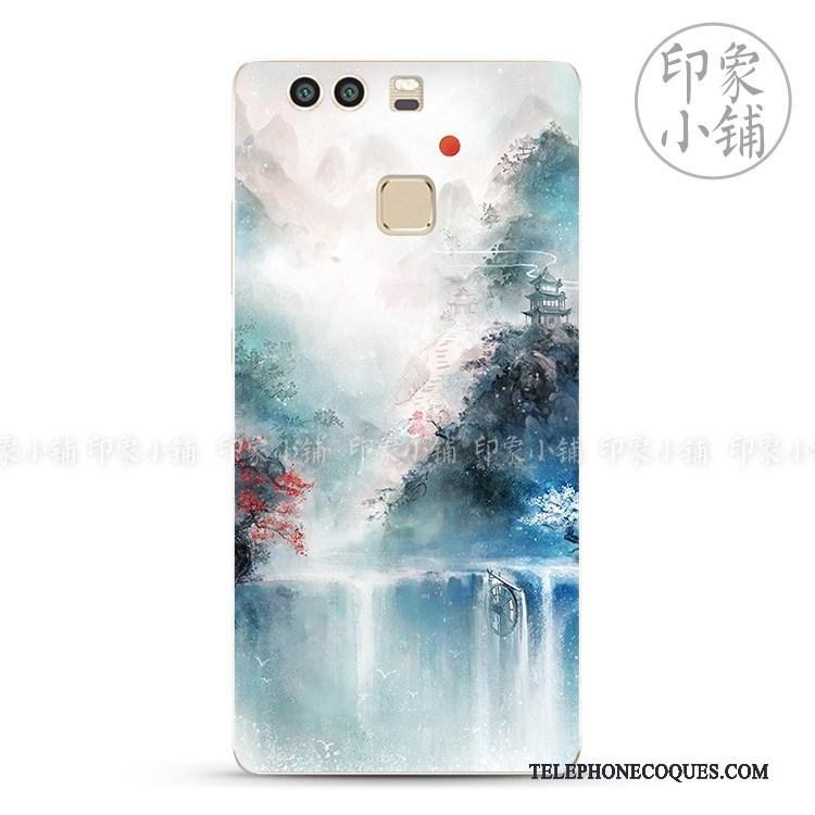 Coque Pour Huawei P9 Plus Vent Art Étui Vintage Fluide Doux Simple