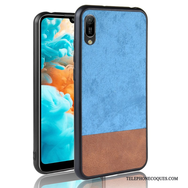 Coque Pour Huawei Y6 2019 Délavé En Daim Tout Compris Couture Couleurs Étui Fluide Doux Denim