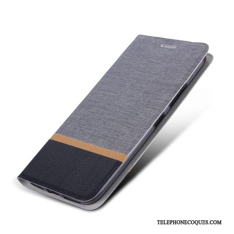 Coque Pour Huawei Y7 2018 Étui En Cuir Protection De Téléphone Gris Téléphone Portable