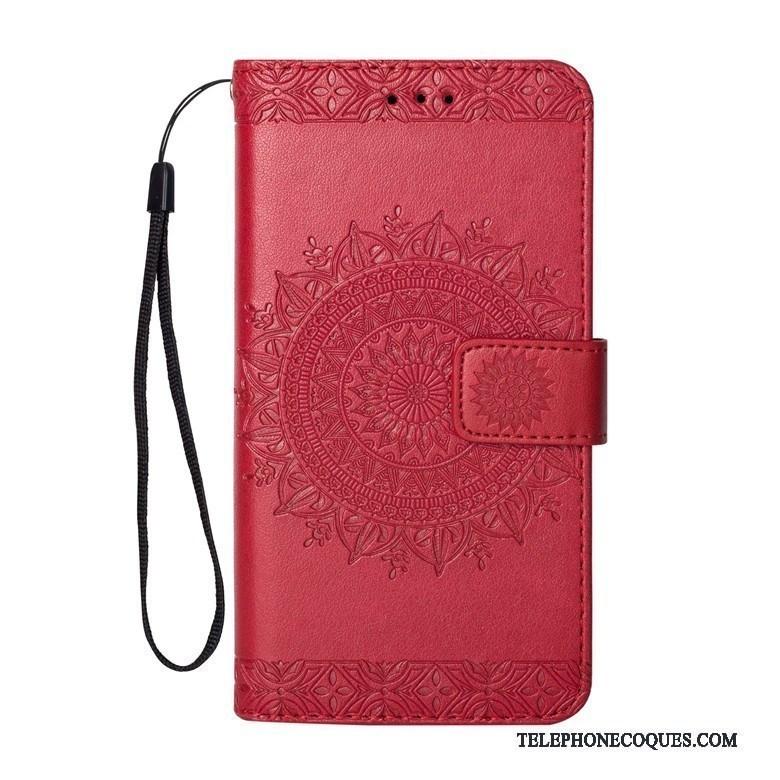 Coque Pour Lg K8 2017 Rouge Étui En Cuir Protection Incassable Clamshell Tendance