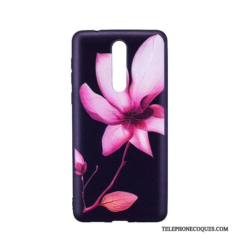 Coque Pour Nokia 8 Bleu Protection Dessin Animé Fluide Doux Peinture Tendance