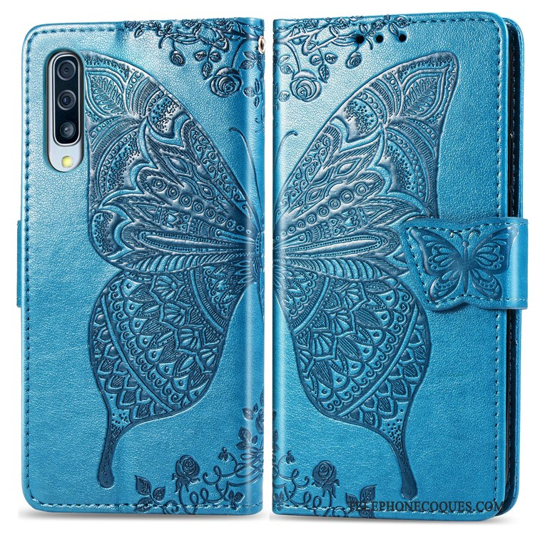 Coque Pour Samsung Galaxy A50 Incassable Housse Fleur Portefeuille De Téléphone Étui En Cuir