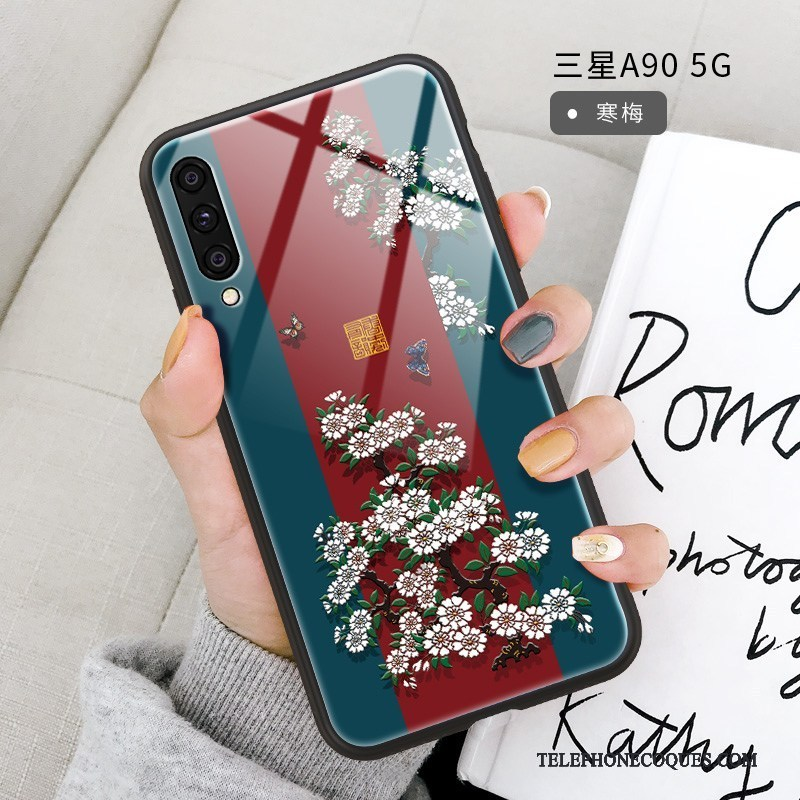 Coque Pour Samsung Galaxy A90 5g Protection Support Ornements Suspendus Frais Rouge Style Chinois
