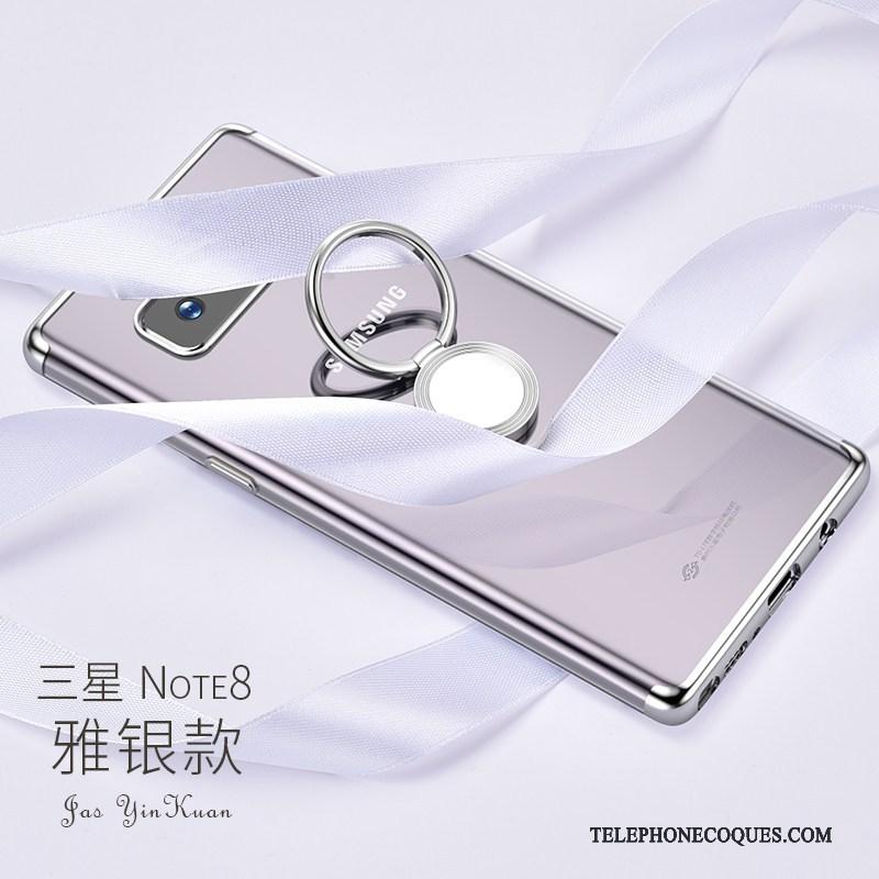 Coque Pour Samsung Galaxy Note 8 Étui Luxe Incassable Argent Support Jaune
