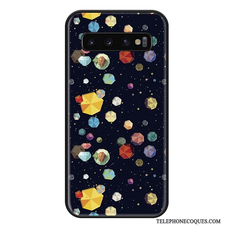 Coque Pour Samsung Galaxy S10+ Créatif Colorée Ornements Suspendus Bleu Silicone Étui