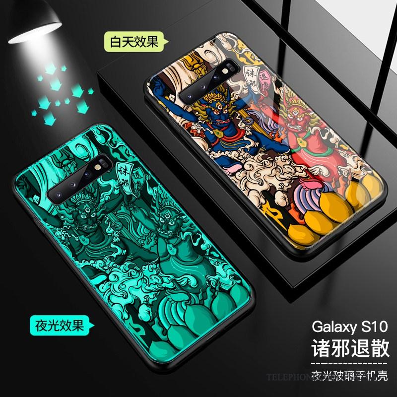 Coque Pour Samsung Galaxy S10 Lumineuses Protection Tout Compris Étui De Téléphone Vert