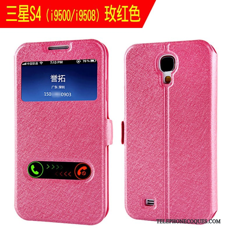 Coque Pour Samsung Galaxy S4 Simple Incassable Or Clamshell Étui En Cuir De Téléphone
