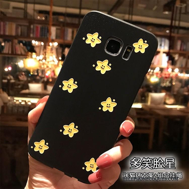 Coque Pour Samsung Galaxy S7 Edge Charmant Étui De Téléphone Fluide Doux Noir Créatif