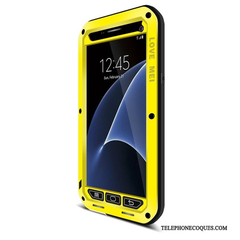 Coque Pour Samsung Galaxy S7 Silicone Trois Défenses Incassable Jaune Tout Compris Étoile