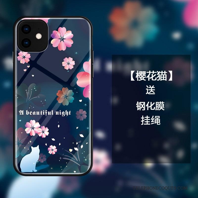 Coque Pour iPhone 11 Protection De Téléphone Sakura Frais Bleu Incassable