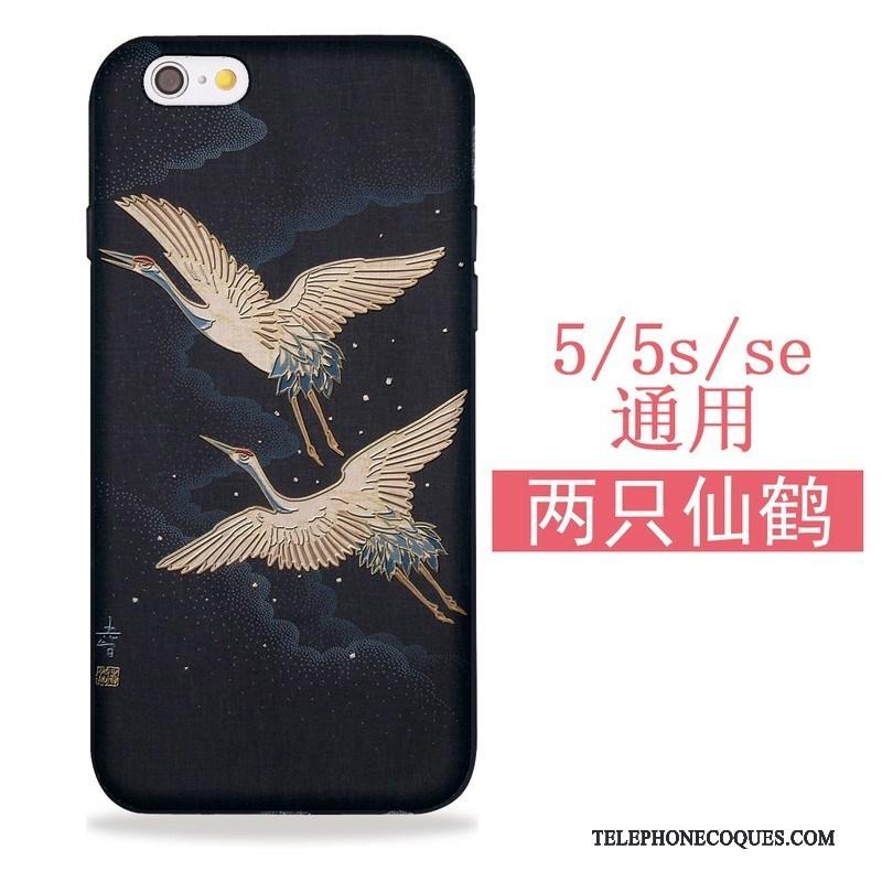 Coque Pour iPhone 5/5s Sakura Silicone Étui Tout Compris Japonais Noir