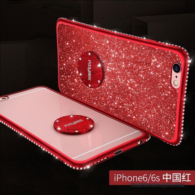Coque Pour iPhone 6/6s Plus Incassable Strass Anneau Rouge Étui Luxe