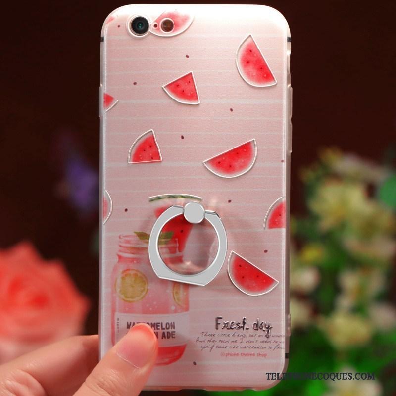 Coque Pour iPhone 6 6s Plus Net Rouge Anneau De Téléphone Original Délavé En Daim Étui 4201 c00