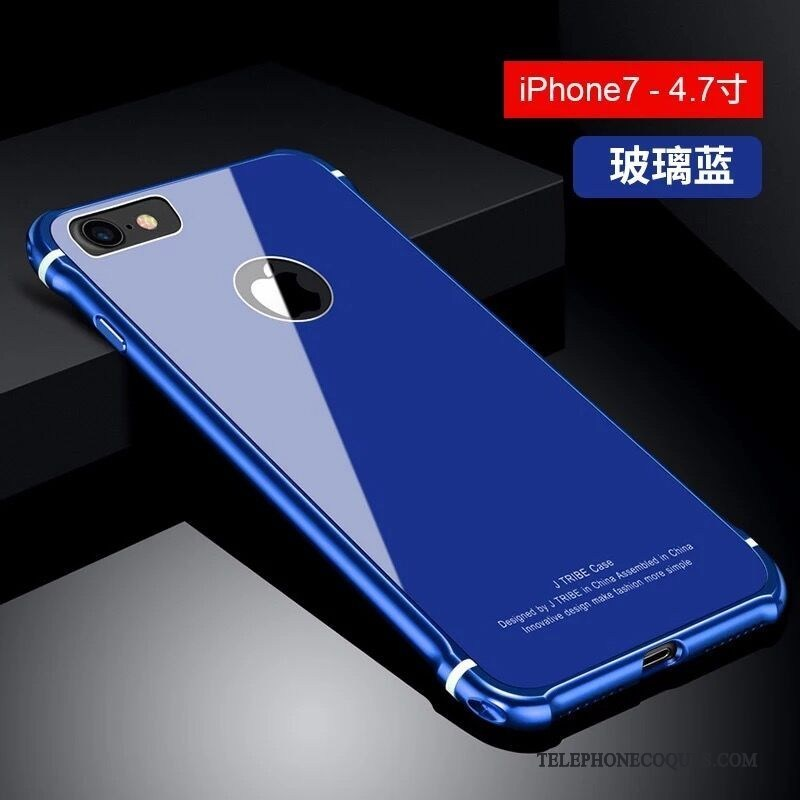 Coque Pour iPhone 7 Étui Tendance Blanc De Téléphone Incassable Verre