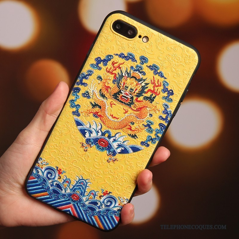 Coque Pour iPhone 7 Plus Silicone Tout Compris Style Chinois Protection Jaune Robes