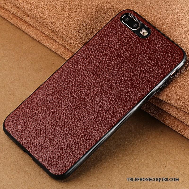 Coque Pour iPhone 8 Créatif Incassable Luxe Étui En Cuir Marron Personnalité