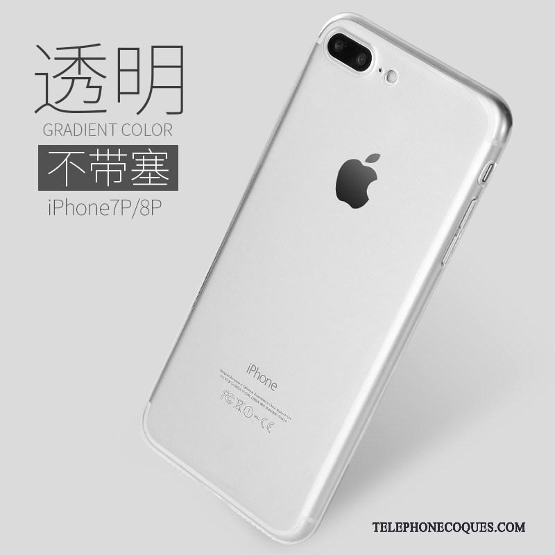 Coque Pour iPhone 8 Plus Créatif Fluide Doux Transparent Silicone De Téléphone Dégradé De Couleur