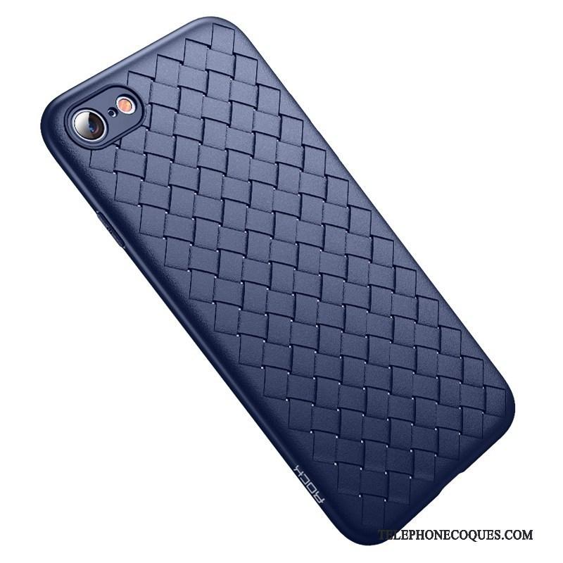 Coque Pour iPhone 8 Tissage Tout Compris Créatif Bleu Étui Silicone