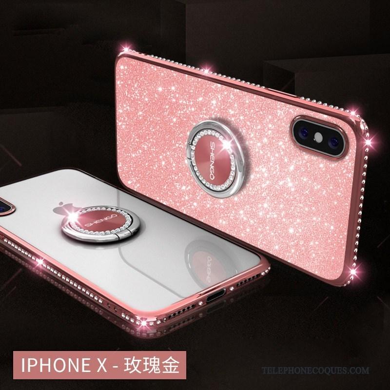 Coque Pour iPhone X Étui Strass Argent Ornements Suspendus Rose Incassable