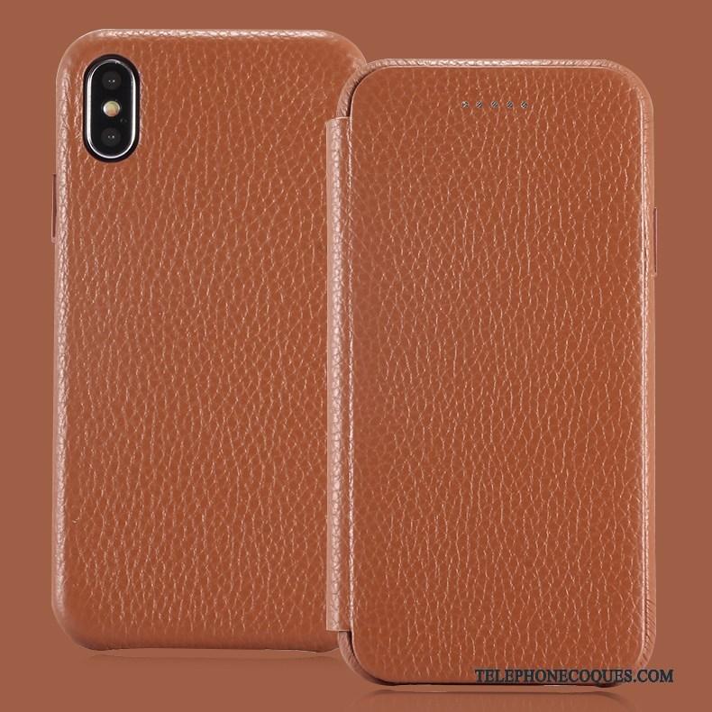 Coque Pour iPhone X Incassable Dormance Étui De Téléphone Carte Cuir Véritable