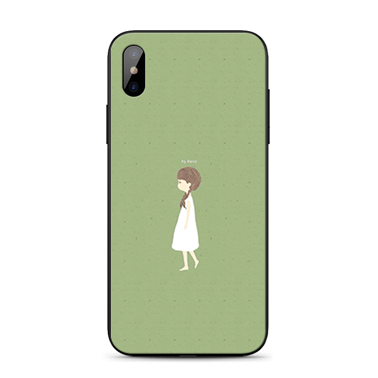Coque Pour iPhone Xs Étui Simple Incassable Silicone Art Vert
