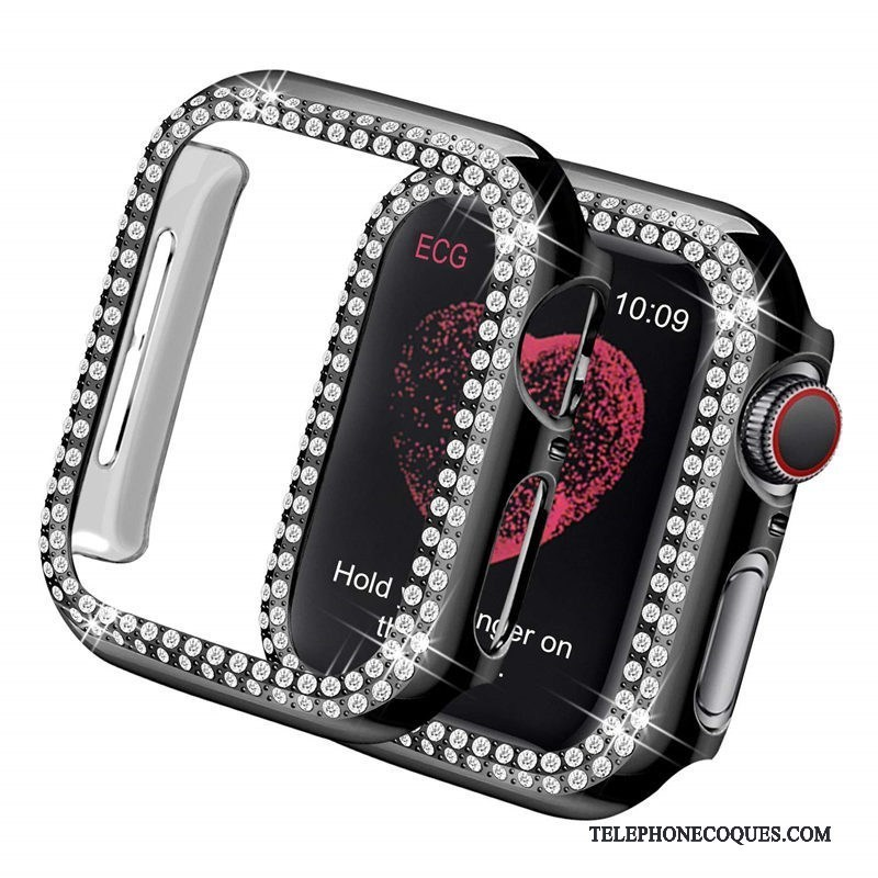 Coque Pour Apple Watch Series 2 Placage Noir Légères Incruster Strass Difficile