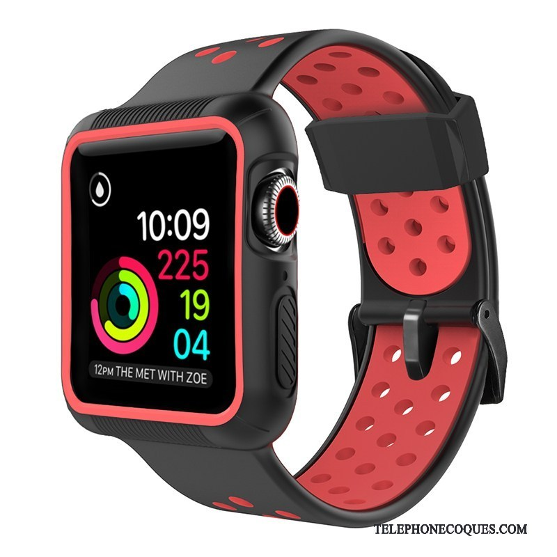 Coque Pour Apple Watch Series 5 Rouge Silicone Protection Sport