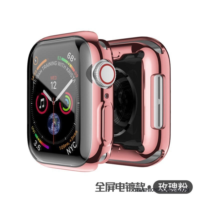Coque Pour Apple Watch Series 5 Silicone Rose Étui Fluide Doux Protection