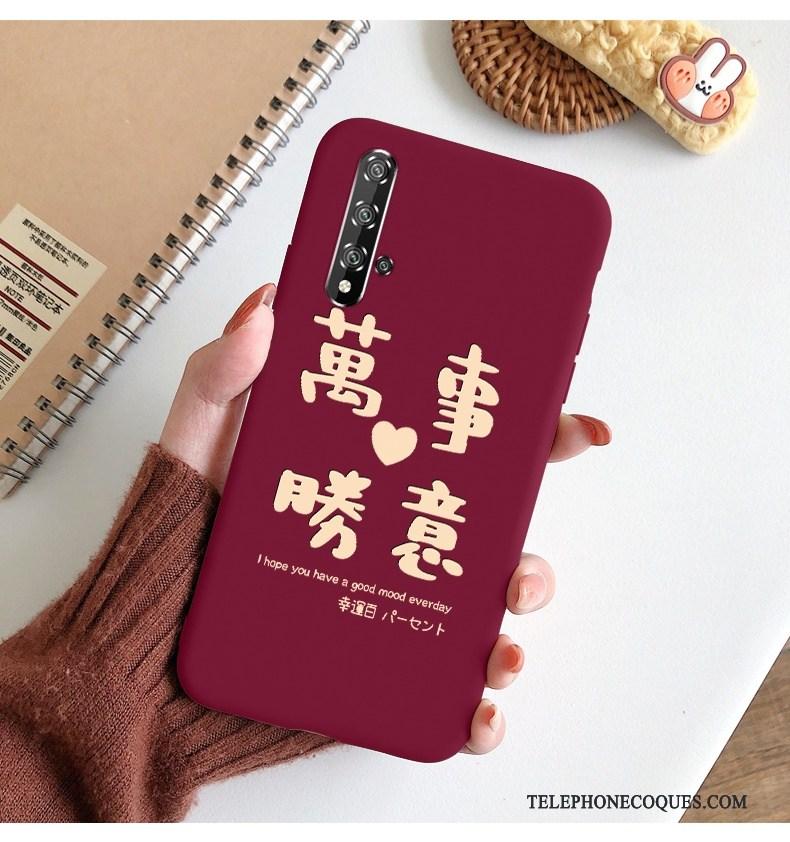 Coque Pour Honor 20 Incassable Simple De Téléphone Rouge Net Rouge Silicone