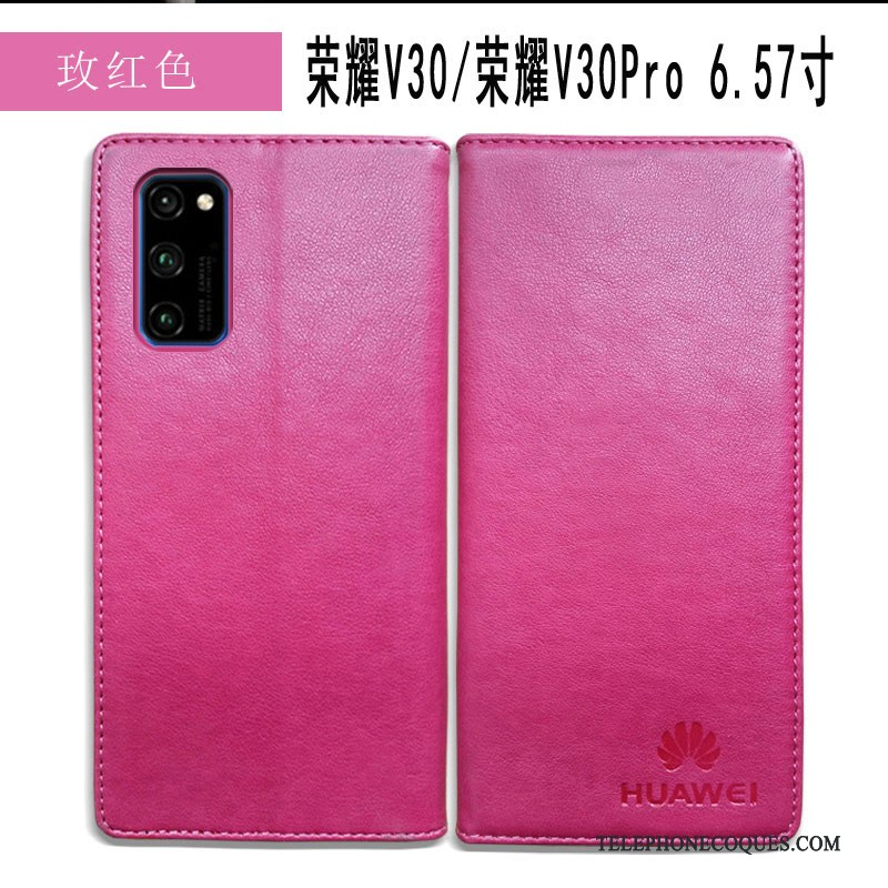 Coque Pour Honor View30 Pro Protection Tout Compris Simple Business Cuir Véritable Étui