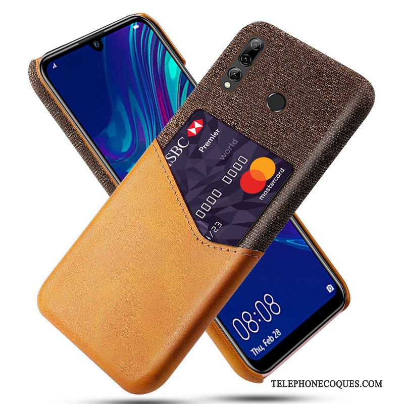 Coque Pour Huawei P Smart+ 2019 De Téléphone Carte Simple Étui En Cuir Protection Orange