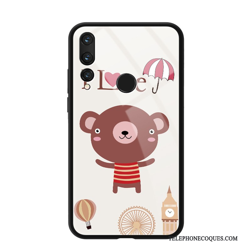 Coque Pour Huawei P Smart+ 2019 Ours Pu Silicone Verre Charmant Dessin Animé