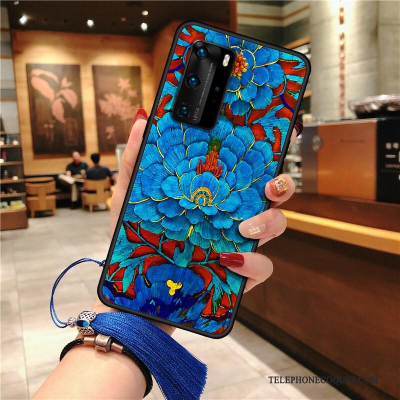 Coque Pour Huawei P40 Pro Silicone De Téléphone Tout Compris À Franges Bleu Ethnique