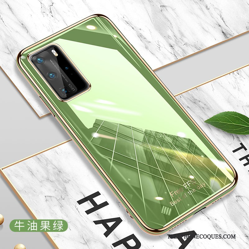 Coque Pour Huawei P40 Pro Tendance Très Mince Vert Silicone Protection Simple