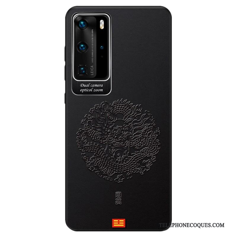 Coque Pour Huawei P40 Pro Très Mince Étui Business Gaufrage Style Chinois Modèle Fleurie