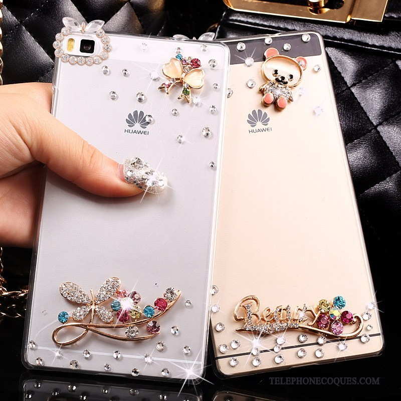 Coque Pour Huawei P8 Lite Strass Protection Difficile Étui Transparent Jeunesse
