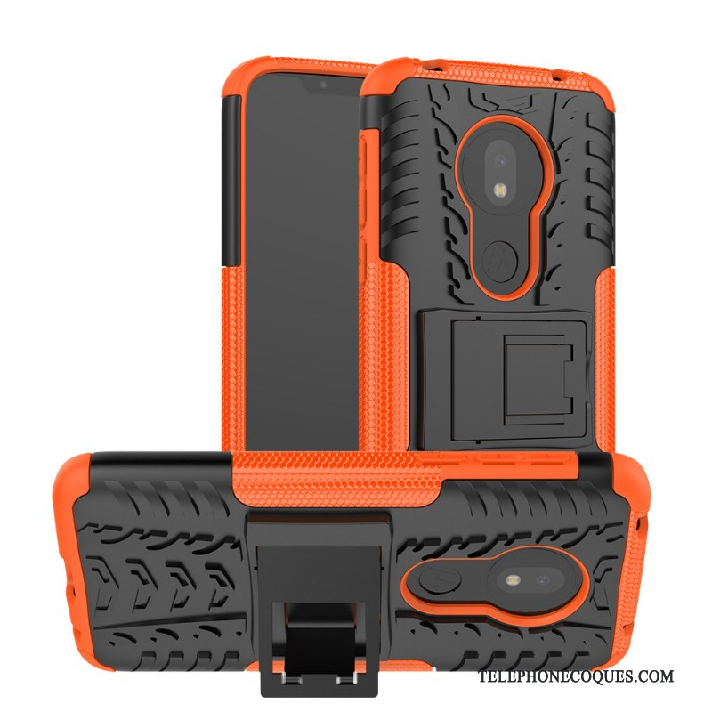 Coque Pour Moto G7 Play Protection Support Incassable Étui Orange Créatif