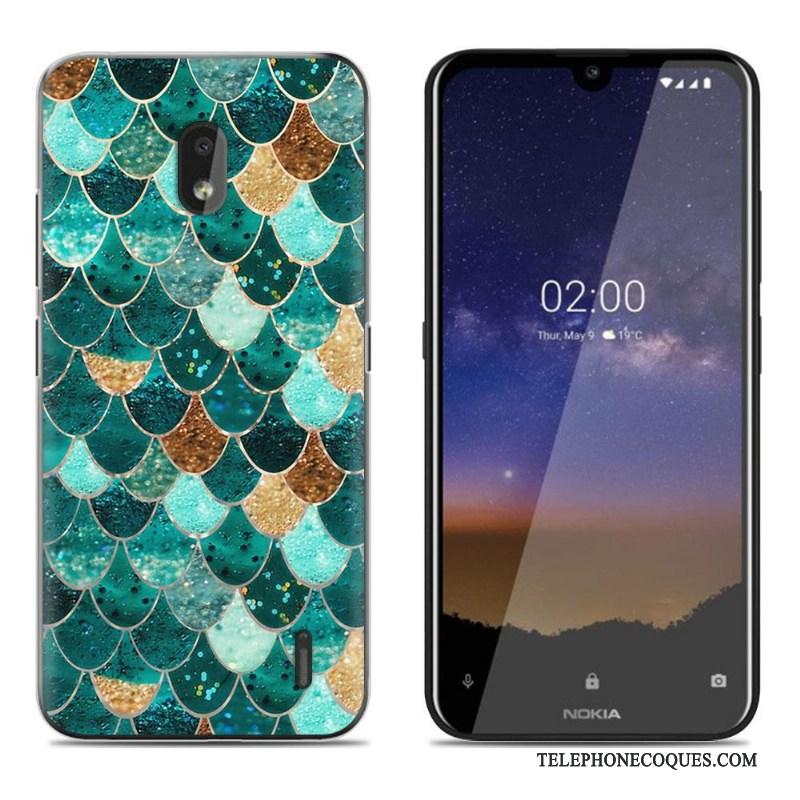 Coque Pour Nokia 2.2 De Téléphone Dessin Animé Vert Étui Peinture Fluide Doux
