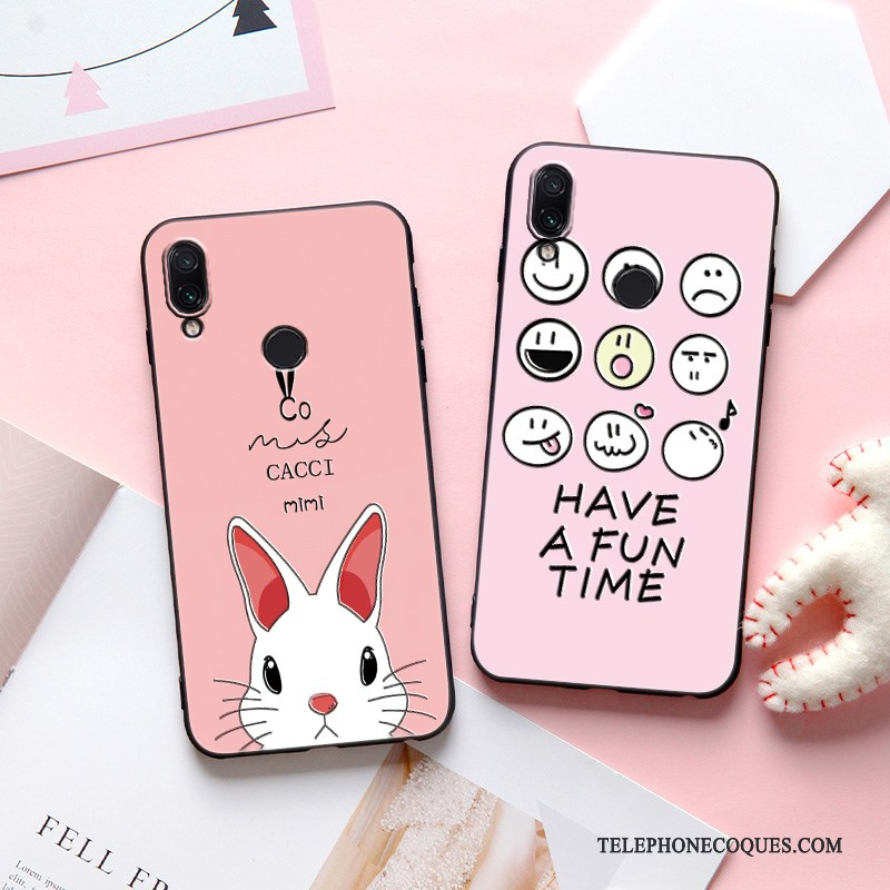 Coque Pour Redmi Note 7 Protection Dessin Animé Incassable Charmant Rouge Rose