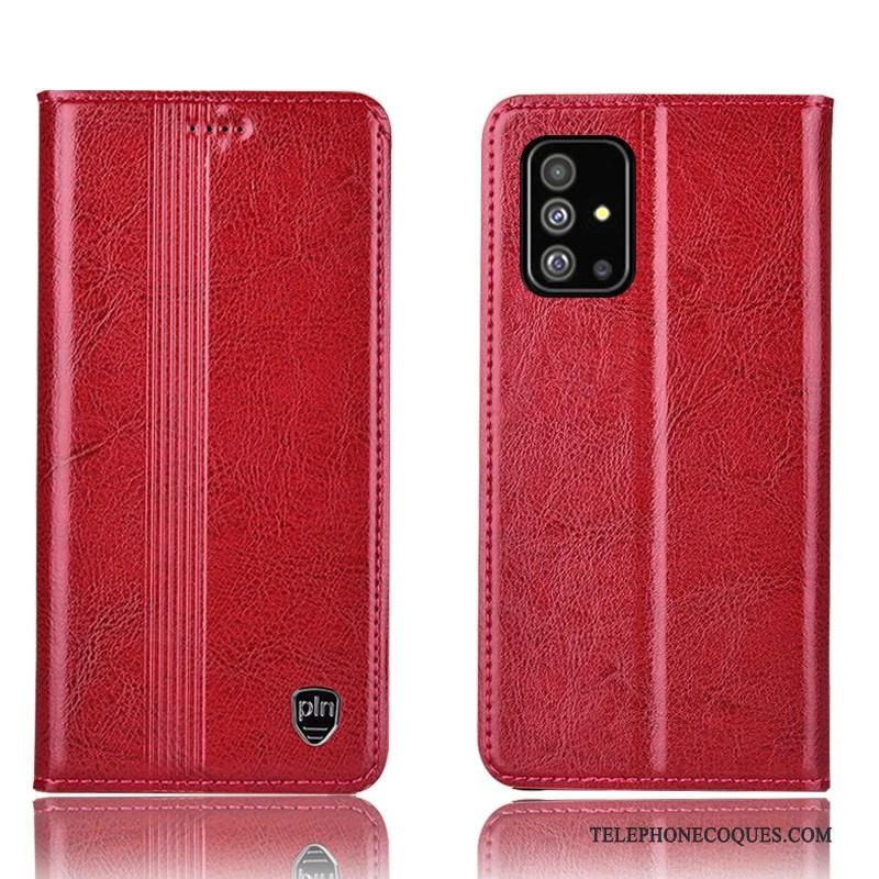 Coque Pour Samsung Galaxy A71 Protection Tout Compris Rouge Housse Étui En Cuir Étoile